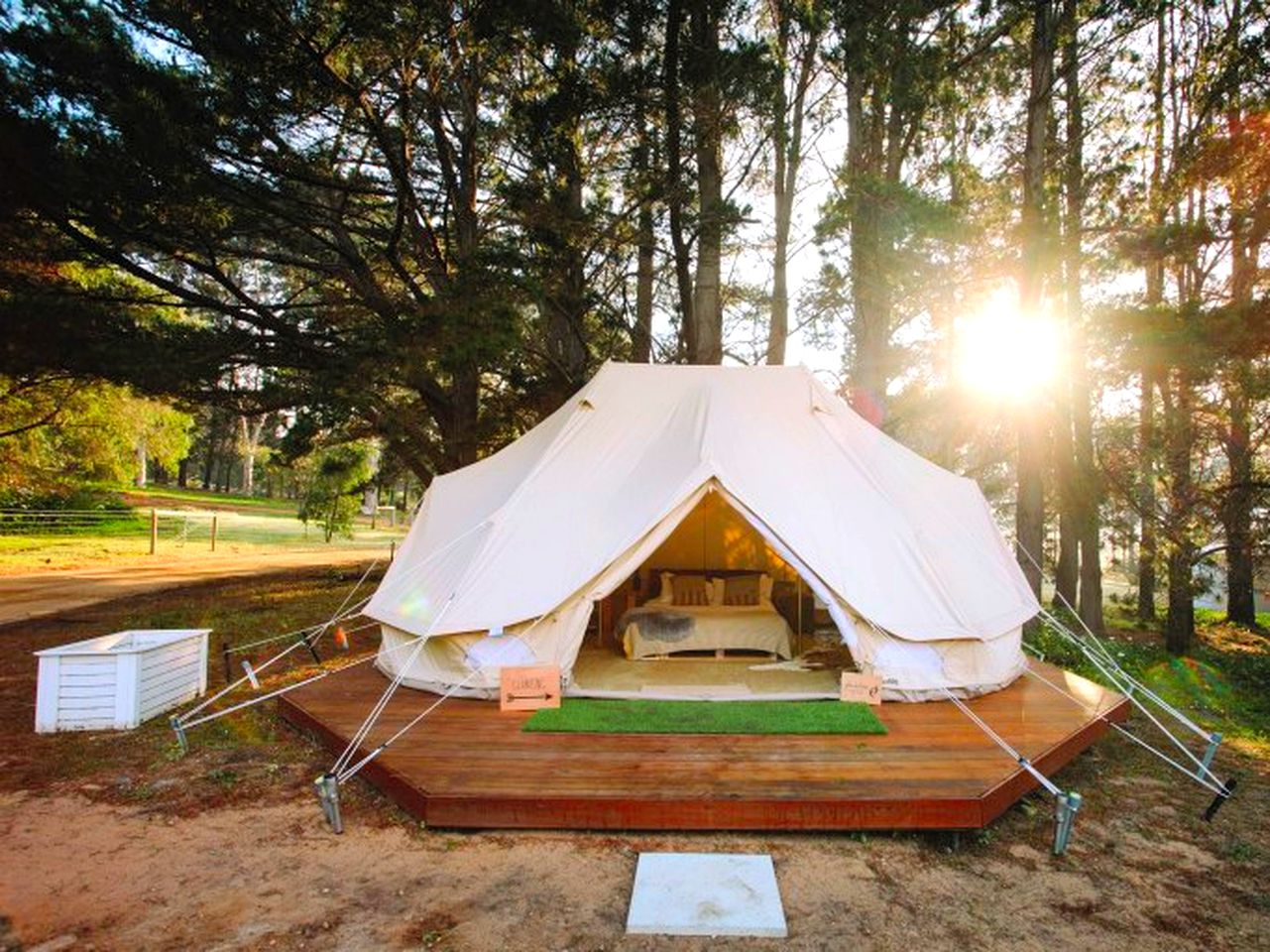 This lovely bell tent rental on its private deck and surrounded by trees is perfect for glamping in Western Australia