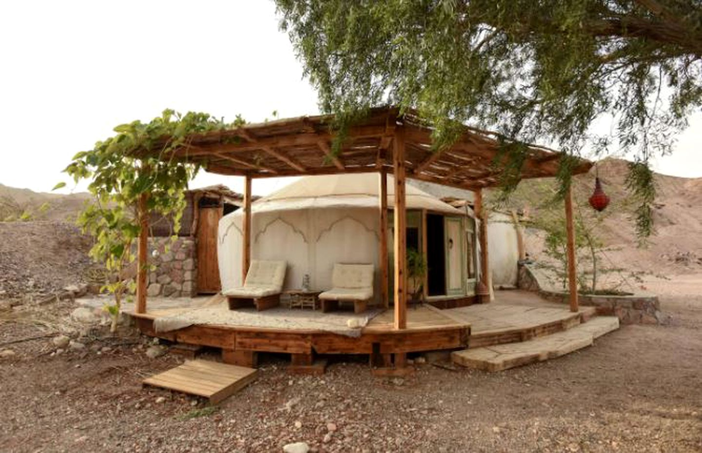 Yurt camping for holiday in Eilat, Israel.