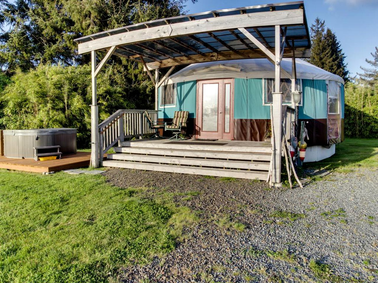Yurt rental with hot tub and deck in Tillamook, Oregon