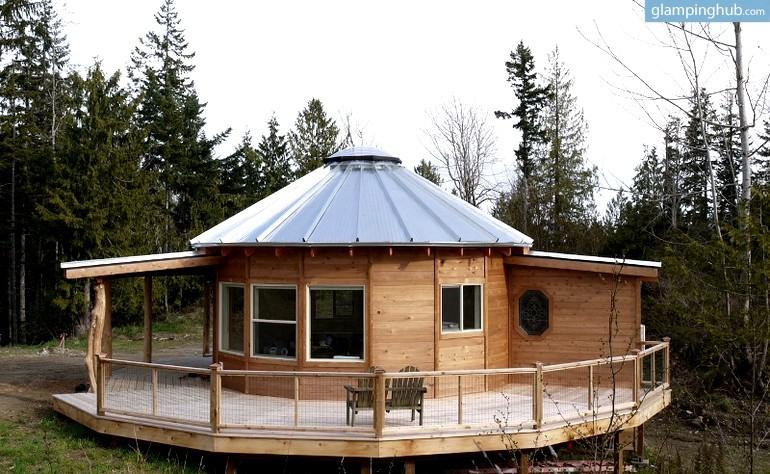 Smiling wood yurts in carlton washington yurt for E house manufacturers usa