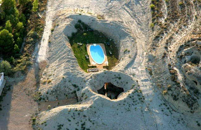 Luxurious Rooms Carved into Cave in Aragon, Spain
