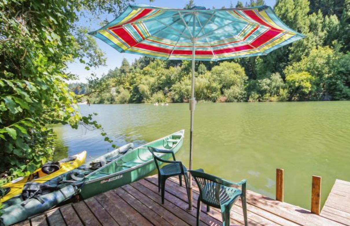 Riverfront cabin rental in sonoma county california for Russian river cabins